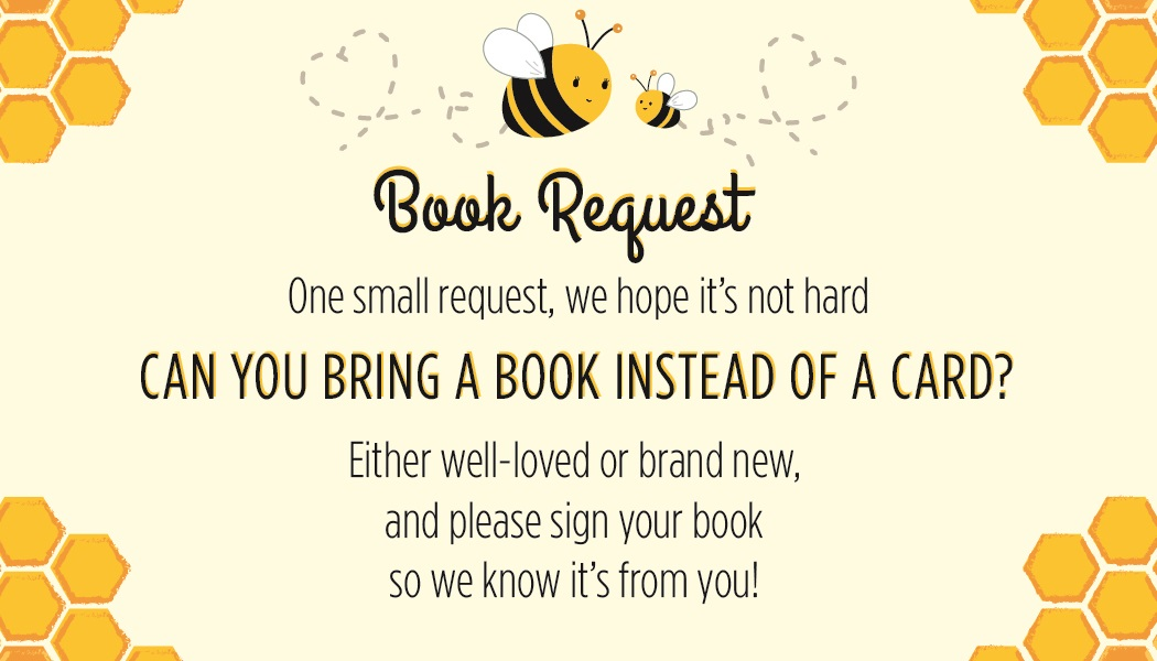 Bee Book Request Baby Shower Cards