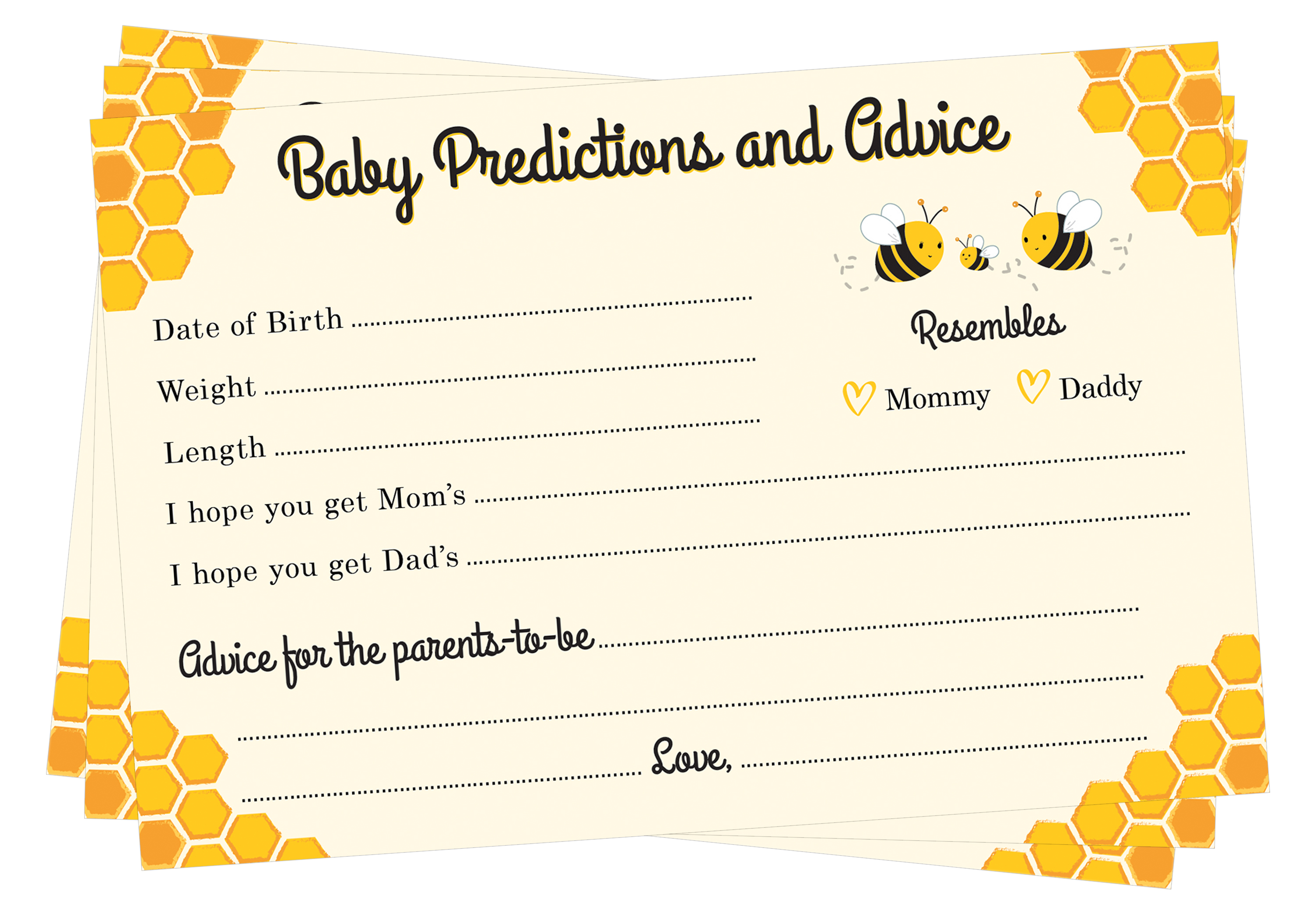 Bee Baby Predictions and Advice Baby Shower Cards